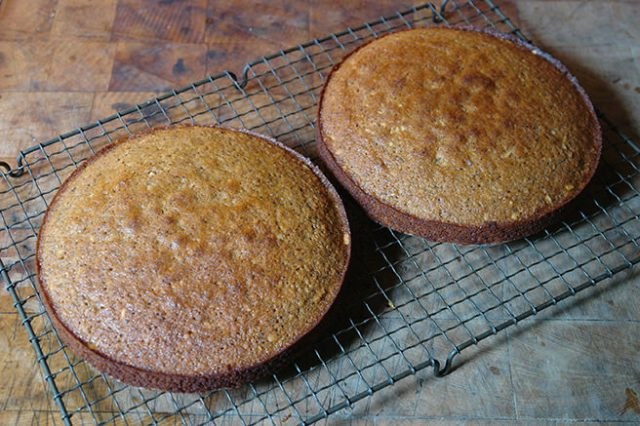 Cooked double espresso brazil nut cake layers cooling on a wire rack | H is for Home