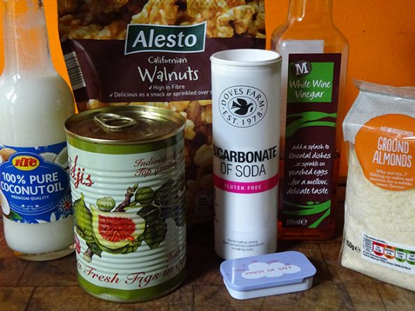 Home-made fig almond walnut loaf ingredients
