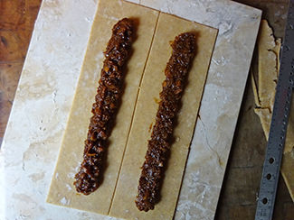 Lines of fig filling on pastry | H is for Home