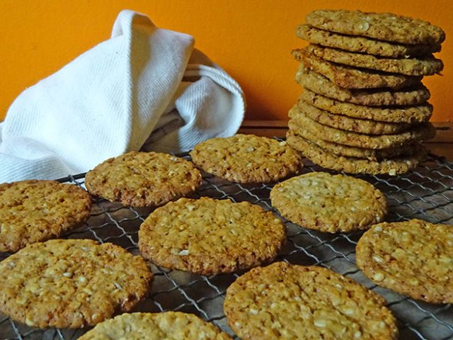 Tower of home-made hobnobs | H is for Home