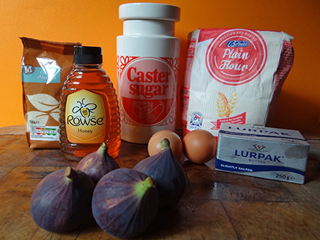 Honey-roasted fig & marzipan tart ingredients