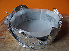 lining a cake tin with tin foil | @hisforhome