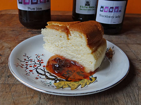 Japanese cheesecake with jars of jam and jelly | @hisforhome