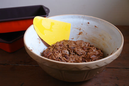 malt loaf dough in a pottery mixing bowl