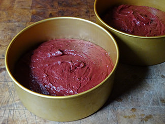 Natural red velvet layer cake batter in cake tins | H is for Home