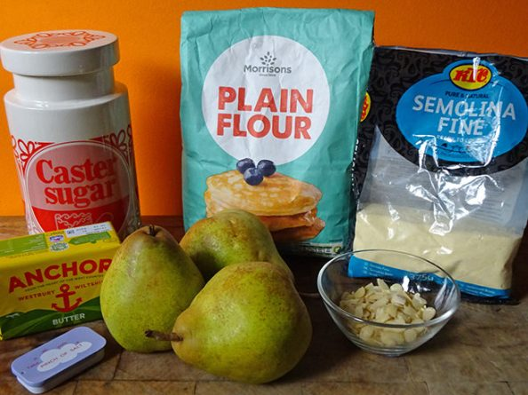 Home-made pear galette ingredients