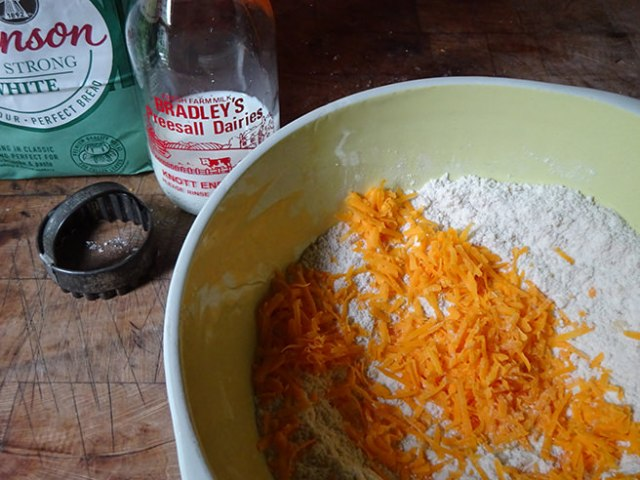 Flour and grated red Leicester mixture | H is for Home