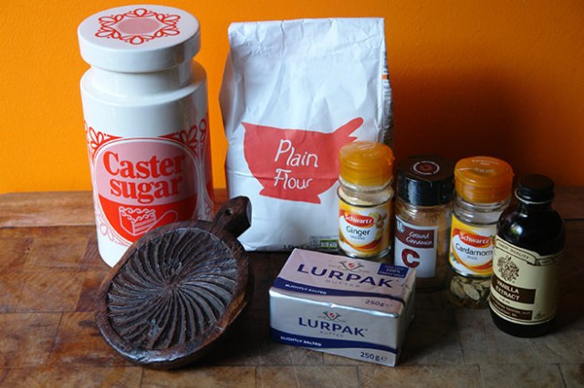 Home-made shortbread ingredients