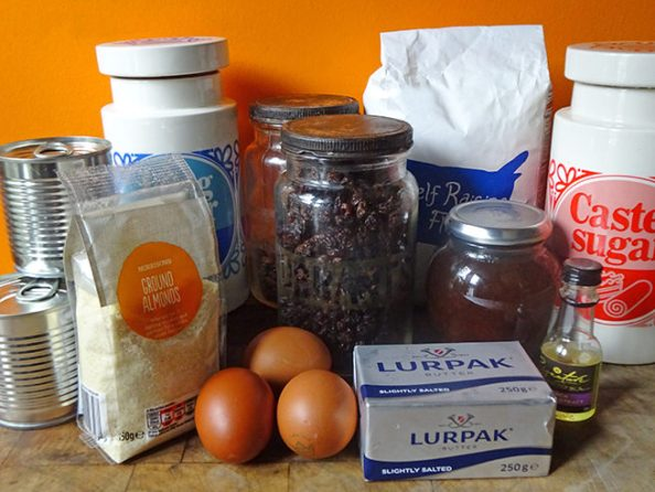 Home-made simnel cupcakes ingredients