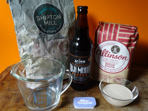 Home-made sourdough beer loaf ingredients