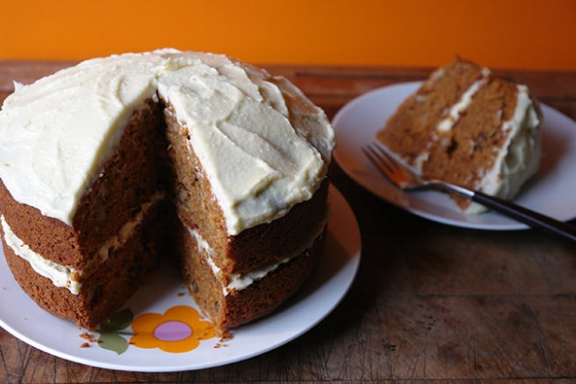 Sweet potato cake with a slice removed