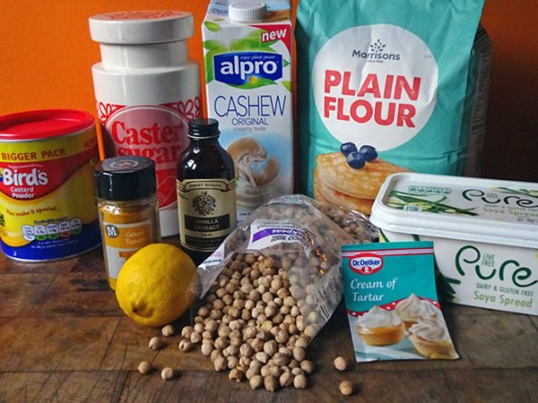 Home-made vegan lemon meringue pie ingredients