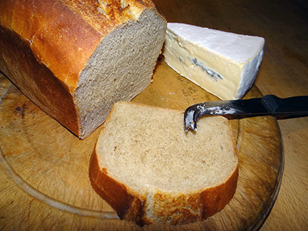 Simple, home-made plain white loaf with Cambozola cheese | H is for Home