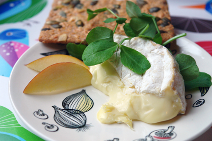 wheel of Camembert, apple wedges and Dr Karg's cracker on vintage plate and Ikea bird tray