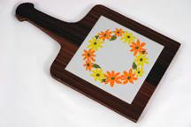 Vintage wood & ceramic tile handled cheese board