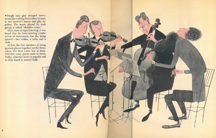 Illustration of a string quartet from the 'What Makes an Orchestra' vintage children's book | H is for Home