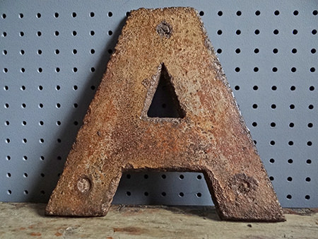 Vintage industrial iron letter A