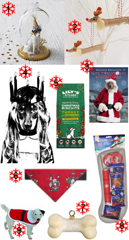 Selection of dog-related, canine Christmas items | H is for Home