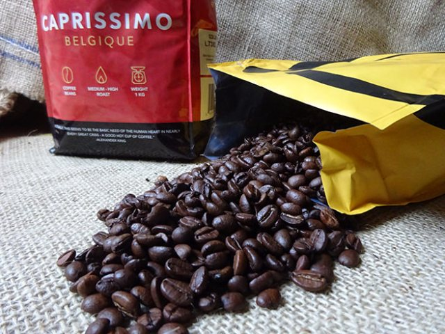 1 kilo bags of Caprissimo coffee beans: Fragrante and Belgique | H is for Home