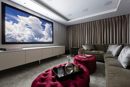 Home cinema with drawn curtains
