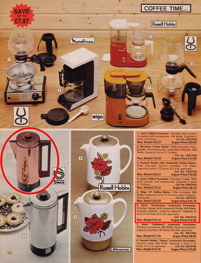 Page from a 1976 Argos catalogue showing a Swan 'Canterbury' electric coffee percolator