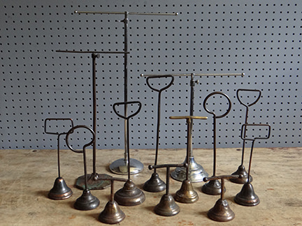 collection of vintage jewellery display stands