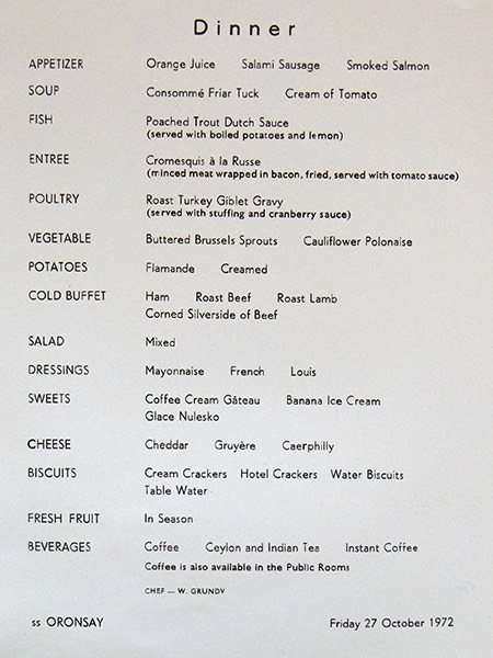 Vintage cruise ship dinner menu from P&O Oronsay
