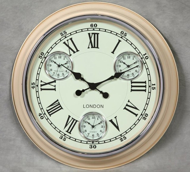 Cream with white face London multi-dial wall clock