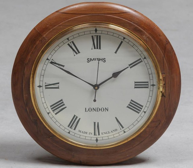 Traditional wooden and brass Smiths school clock