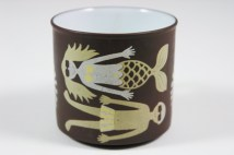 """detail from a vintage """"July"""" mug produced by Hornsea Pottery showing a man and a mermaid sunbathing   H is for Home"""