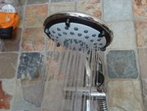 Ecocamel Jetstorm Plus shower head, turned on | H is for Home