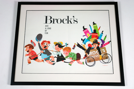 vintage framed Brock's Fireworks illustrated poster