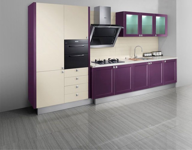 Cream and purple kitchen with grey gloss floor