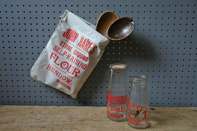 Vintage John Hare's flour bag with a vintage milk & cream bottles and antique wooden spoons   H is for Home