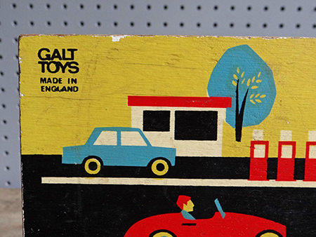Detailed view of vintage Galt Toys puzzle game | H is for Home