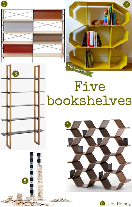 selection of modern bookshelves