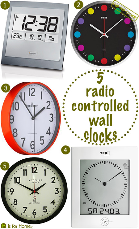 Selection of 5 radio-controlled wall clocks | H is for Home