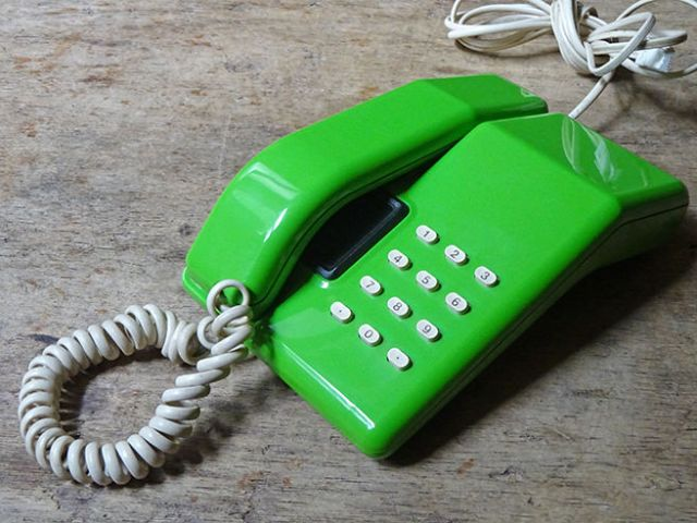 Green vintage 1980s Viscount telephone | H is for Home