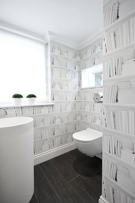 Cloakroom with bookshelf printed wallpaper