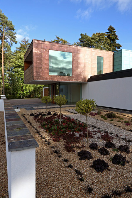 Copper cantilevered house exterior