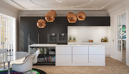 Collection of large spherical lampshades in an open-plan kitchen diner