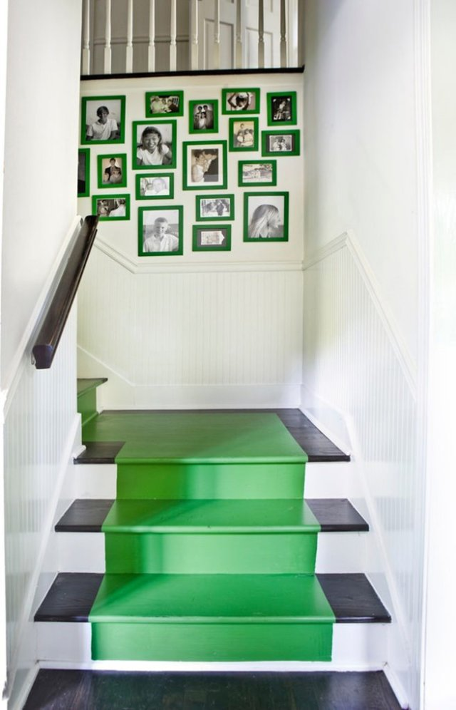 Black, white & emerald painted stairs