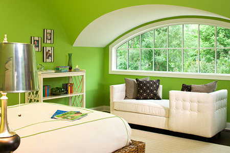bedroom bay window with green flash painted walls