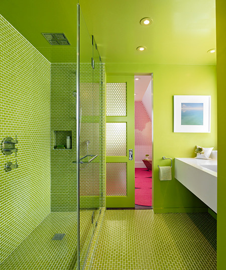 shower room with green flash pained and tiled walls and ceiling