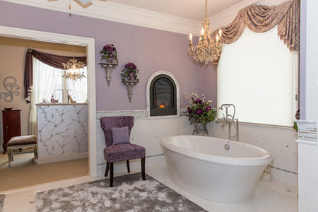 mauve-painted feminine bathroom