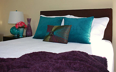 Violet and pertol blue bedding