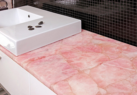 Rose-quartz kitchen countertop