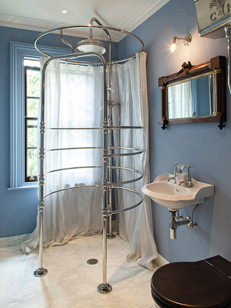 Shower cubicle in a Victorian barthroom with Serenity painted walls