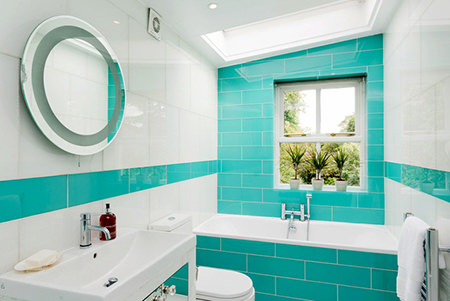 Blue and white tiled bathroom