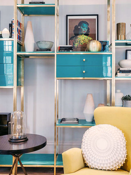 Vintage turquoise and brass shelving unit